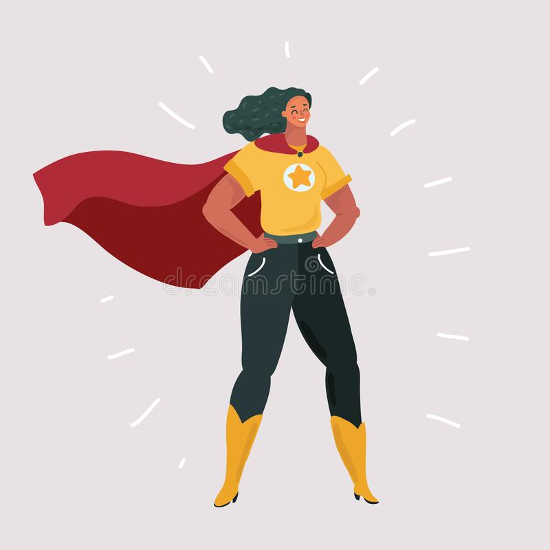 Glimlachende zekere vrouw in superherokostuum vector illustratie