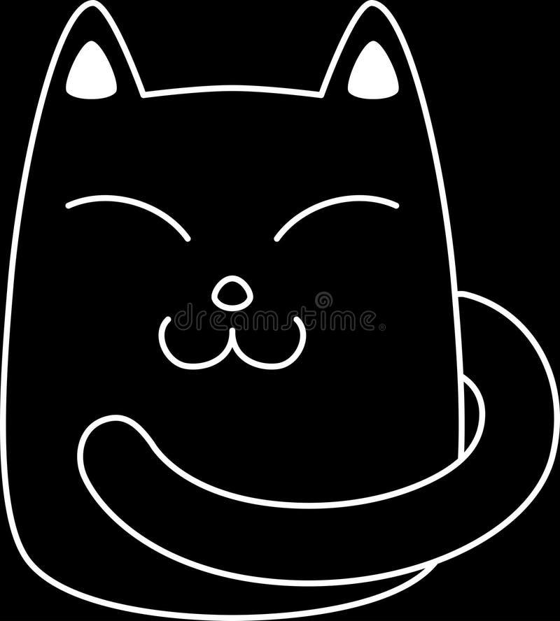 Glimlachende zuivere zwarte kat vector illustratie