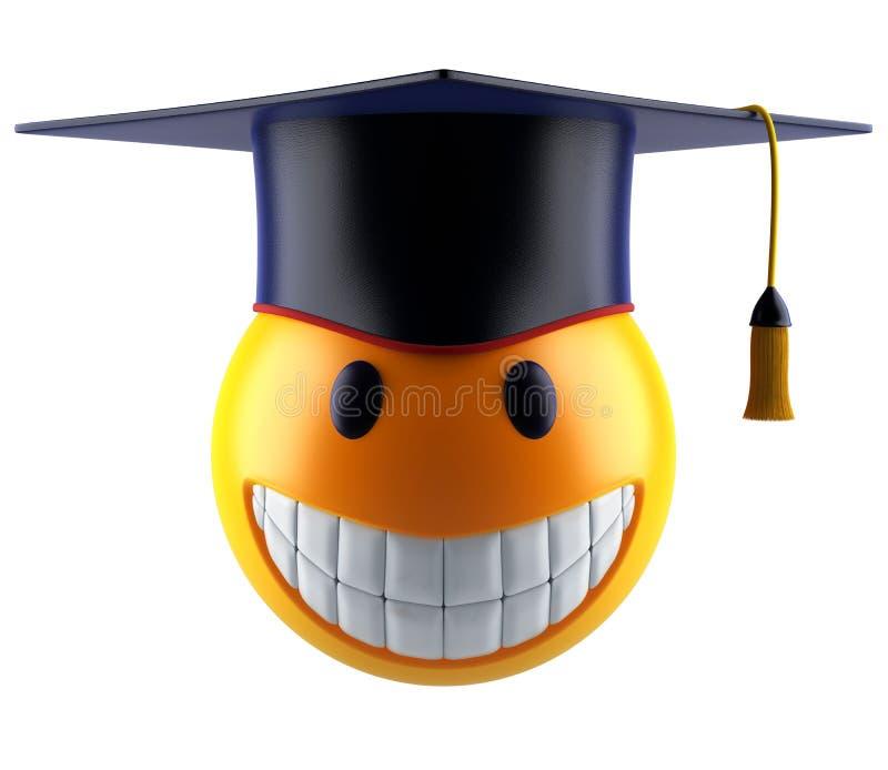 Glimlachgebied emoticon met graduatiestudent GLB vector illustratie