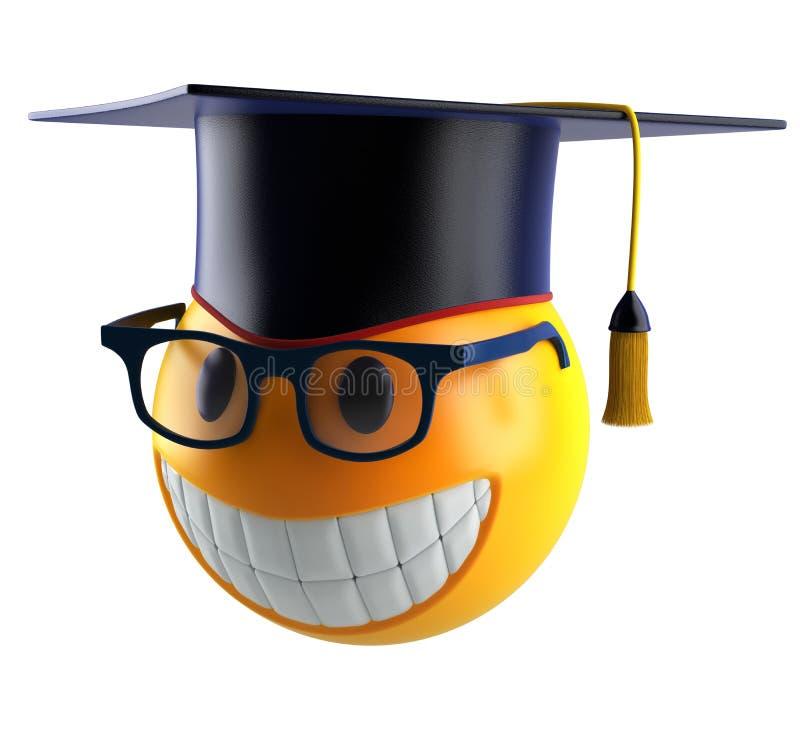 Glimlachgebied emoticon met oogglazen en graduatiestudent GLB royalty-vrije illustratie