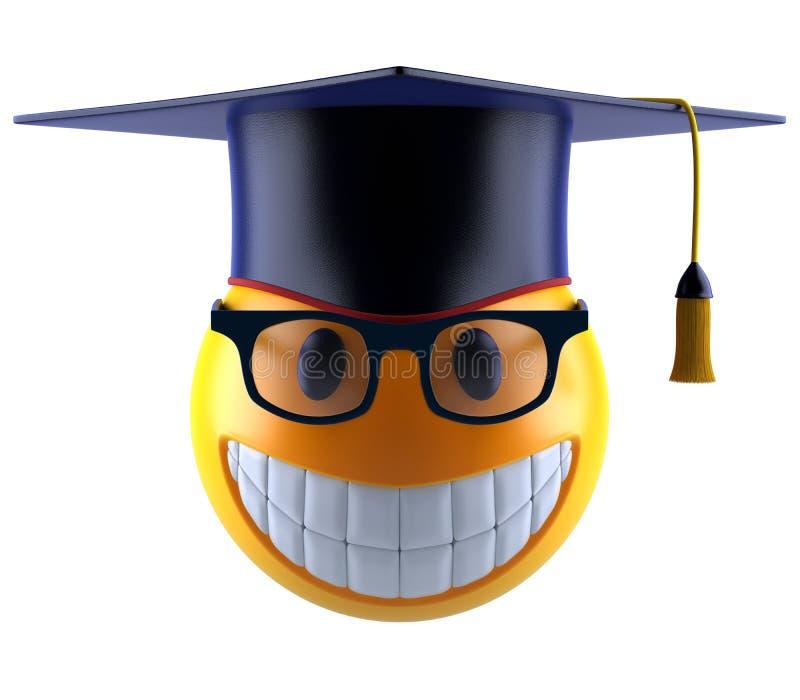 Glimlachgebied emoticon met oogglazen en graduatiestudent GLB vector illustratie