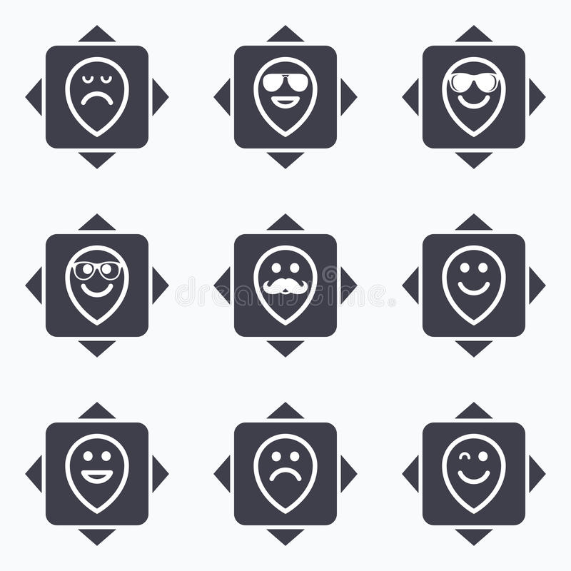 Glimlachpictogrammen Zonnebril, snor en het lachen royalty-vrije illustratie