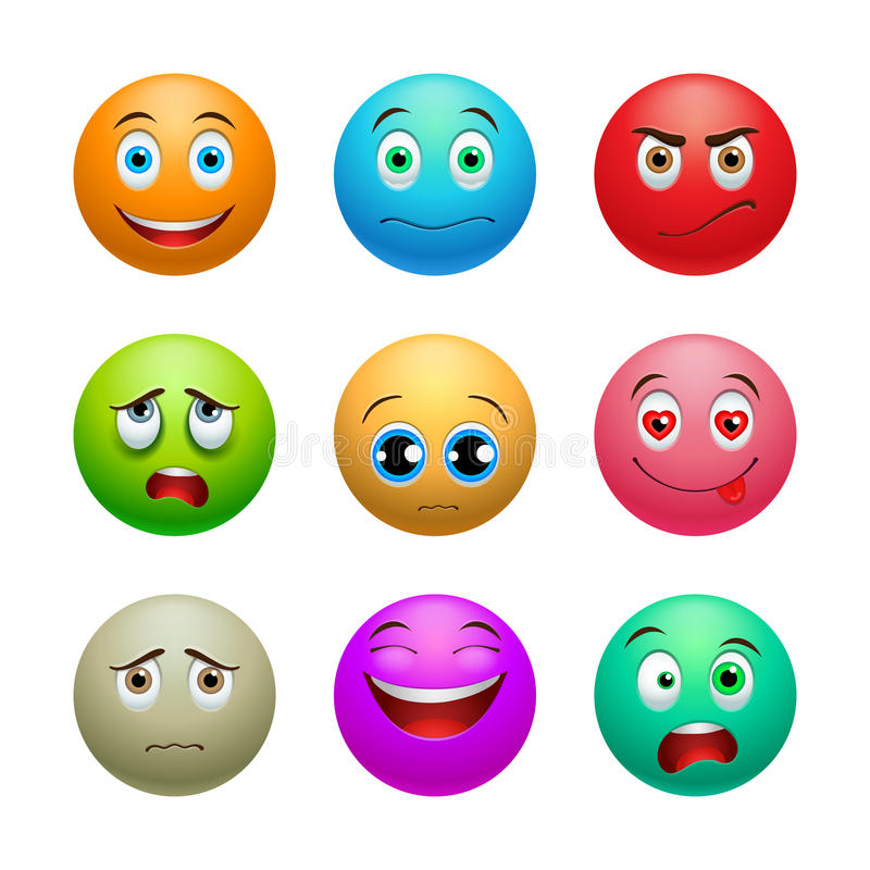 Glimlachreeks, ballen vector illustratie