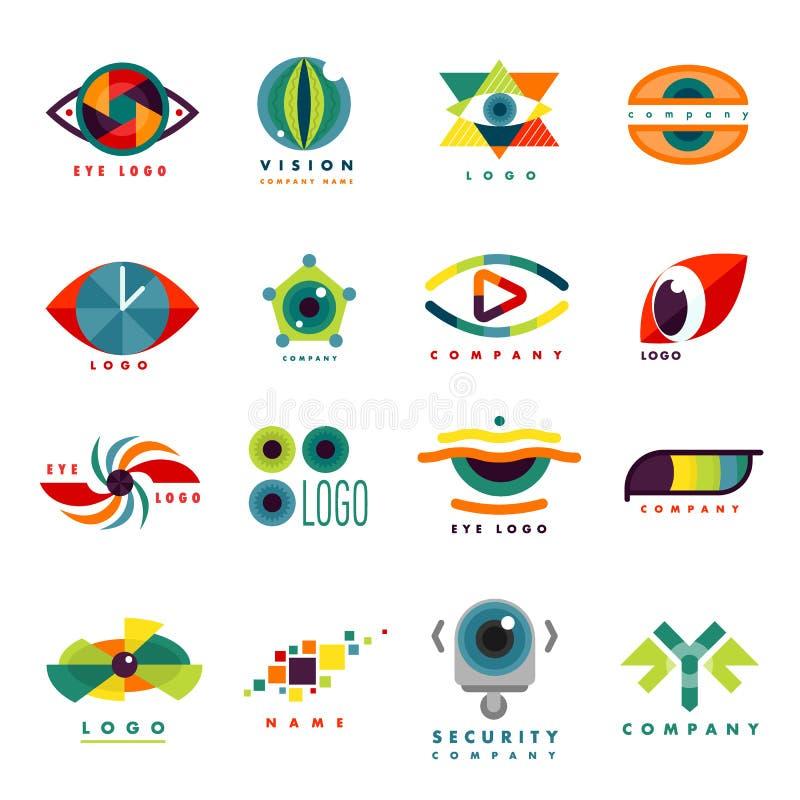 Glimmer van het van de bedrijfs oogoogklep pictogramdaglicht peeper van het malplaatje logotype idee keeker de lichte vectorillus stock illustratie