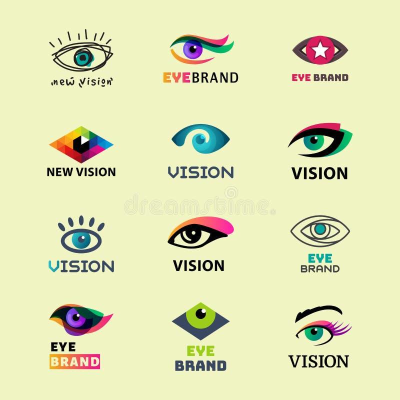 Glimmer van het van de bedrijfs oogoogklep visiedaglicht peeper van het malplaatje logotype idee keeker de lichte vector van het  royalty-vrije illustratie