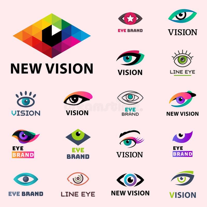Glimmer van het van de bedrijfs oogoogklep visiedaglicht peeper van het malplaatje logotype idee keeker de lichte vector van het  vector illustratie