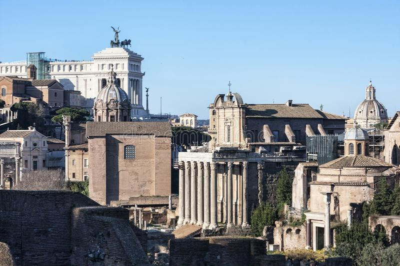 A glimpse of ancient Rome with its churches, monuments and ancient urban buildings - Rome , Italy stock images