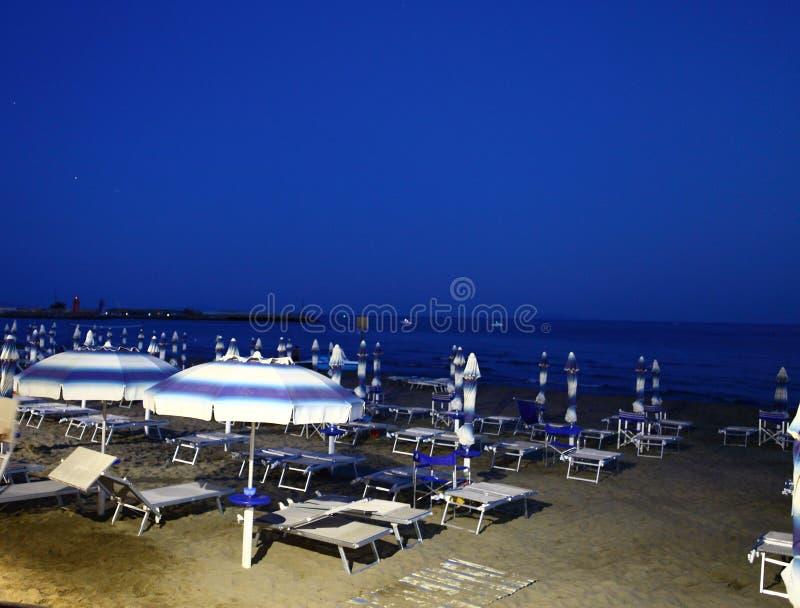 Glimpse of the bathing establishment immediately after sunset. Castiglione della Pescaia, Tyrrhenian Sea, Tuscany Italy stock images