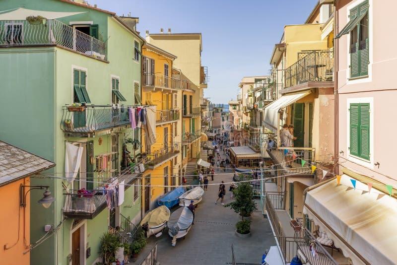 A glimpse of the historic center of Manarola, Cinque Terre, Liguria, Italy. Europe stock image