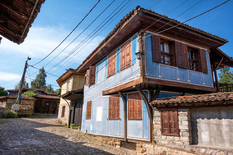 Glimpse of houses in the picturesque village of koprivshtitsa in Bulgaria. Glimpse of houses in the picturesque village of koprivshtitsa, in Bulgaria royalty free stock images