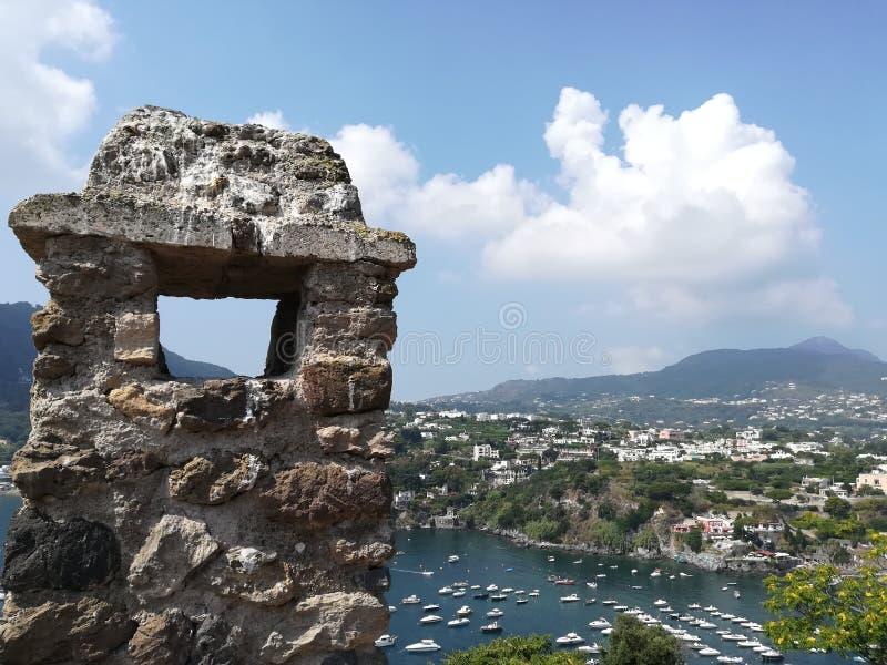Glimpse of the sea of Ischia. Glimpse of Ischia& x27;s sea bridge royalty free stock images