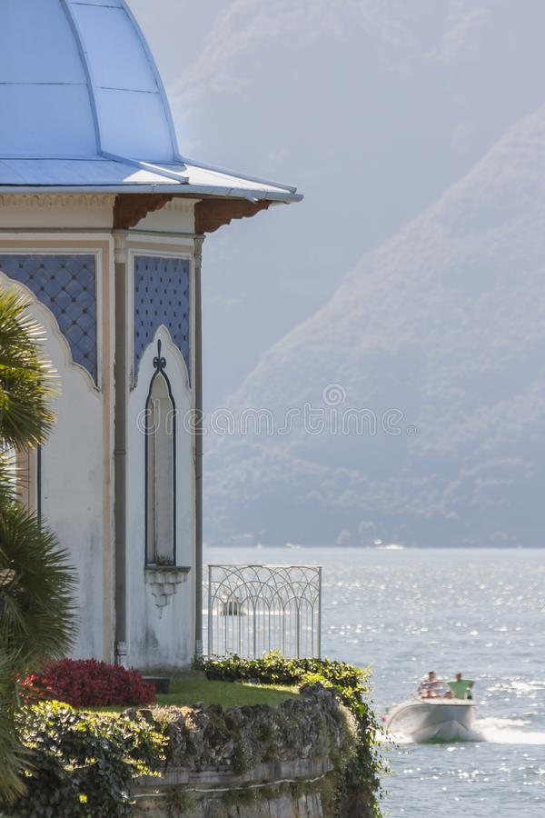 Glimpse of Lake Como - Como, Italy. To understand a concept of tourism stock photography