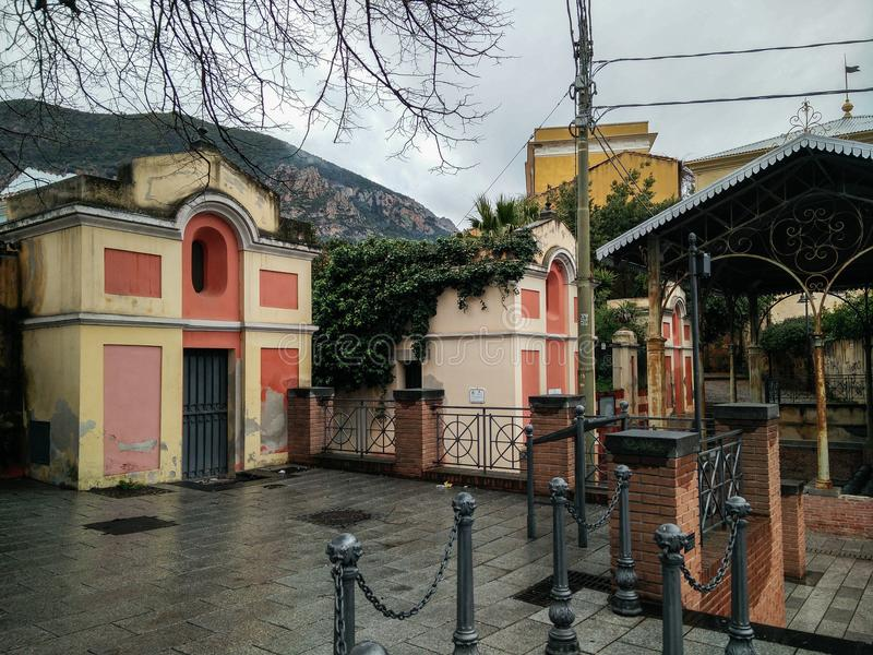 Sardinia. Villacidro. The Lavatoio, 19th century. Glimpse of the Piazza Lavatoio with the antique public wash-house built in 1893, designed in Art Nouveau style stock photos