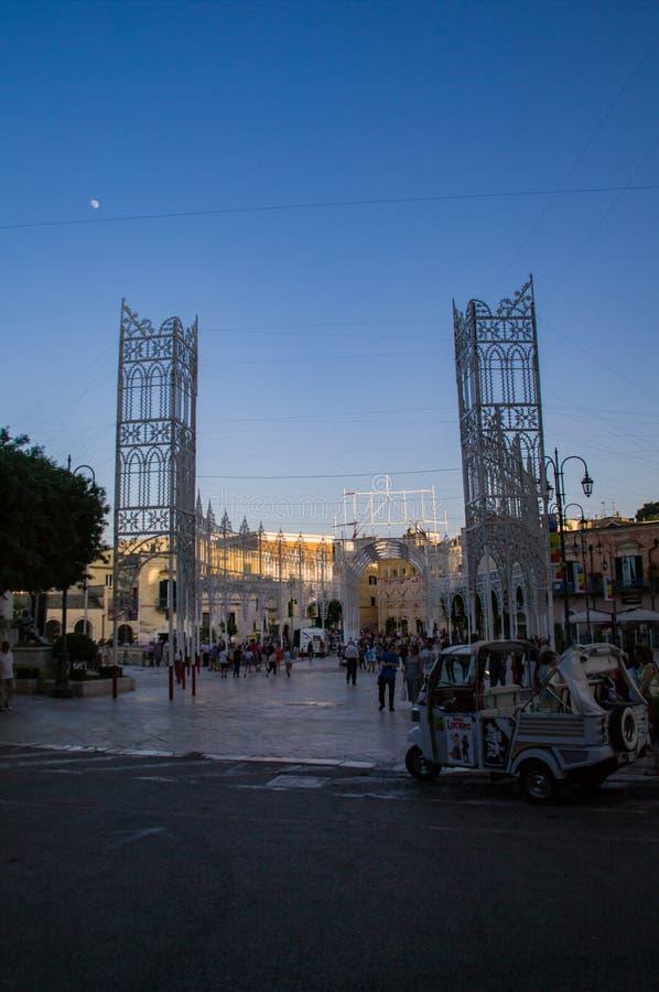 Italy. Matera, UNESCO site and European Capital of Culture 2019. Piazza Vittorio Veneto stock photo