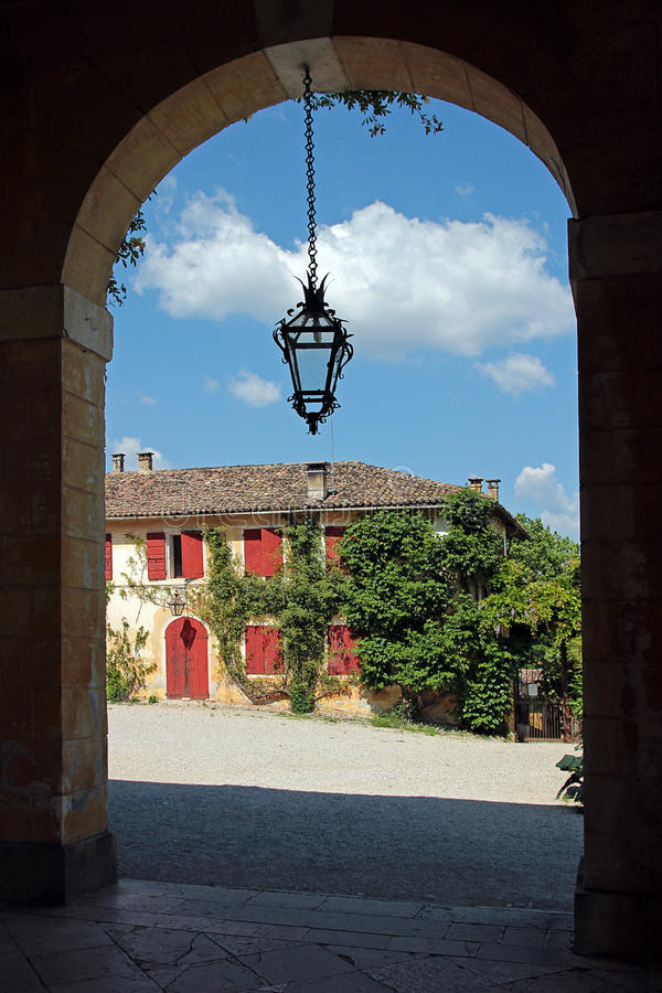 Glimpse from the porch of a venetian villa. Glimpse from the porch of the venetian villa Barbaro, Italy stock image