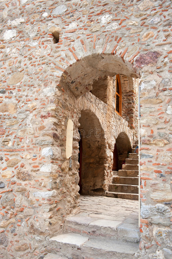 Glimpse in the town Mystras. Glimpse in the Byzantine town Mystras at the Greek peloponnese stock photos