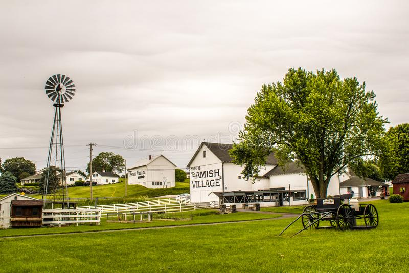 A glimpse of traditional lifestyle in The Amish Village, Pennsylvania. Horse buggy and other traditional items in the Amish Village stock photography