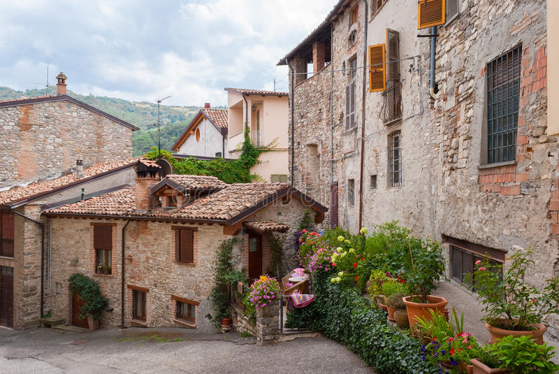 Glimpse of a typical medieval village in Italy. (Bobbio, Emilia Romagna royalty free stock photography