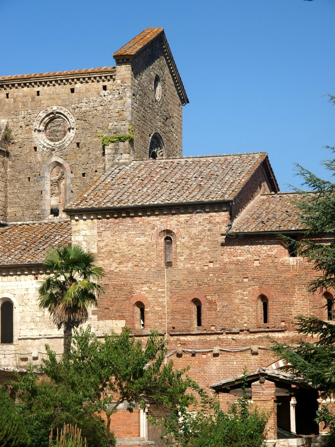 Glimspe of San Galgano abbey stock images