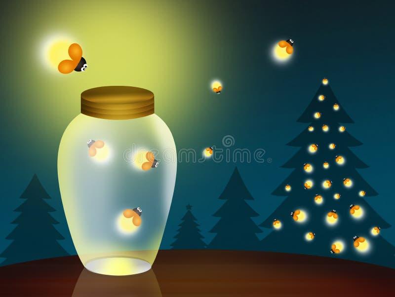Glimwormen bij Kerstmis stock illustratie