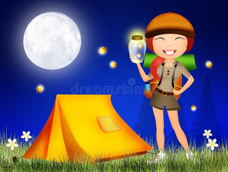 Glimwormen in de nacht stock illustratie