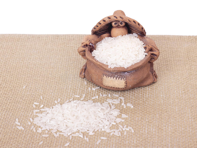 glinianego garnka ryż zdjęcie royalty free
