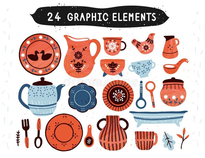Gliniany garncarstwo, handmade ceramika, garncarka hobby, rocznik wioski ludowa porcelana, set starzy zdobni naczynia Kuchenny ek ilustracja wektor