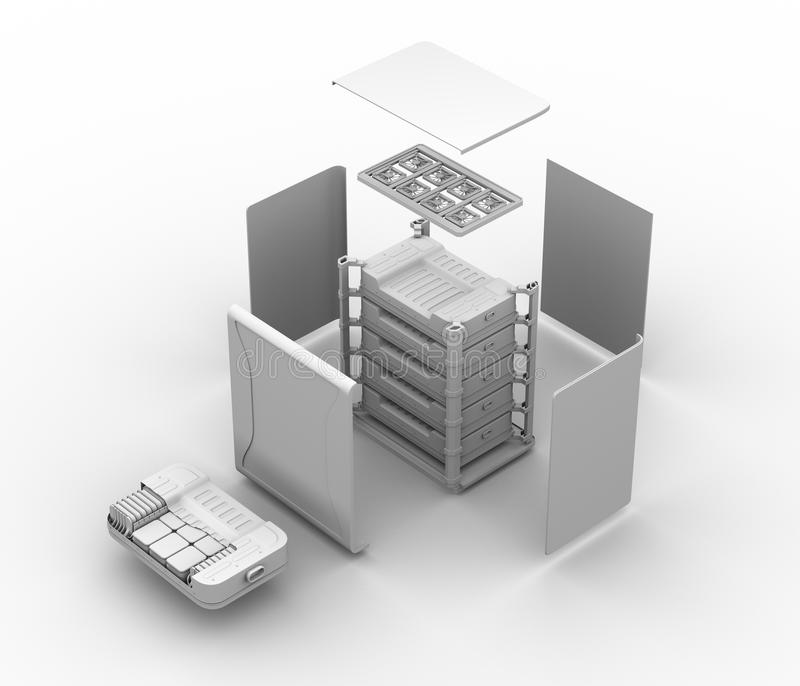 Gliniany rendering reused elektryczny pojazd baterii składnika system Wybuchający widok EV baterie przetwarzają pojęcie ilustracji