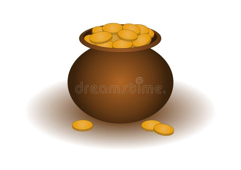 gliniany złocisty garnek ilustracja wektor