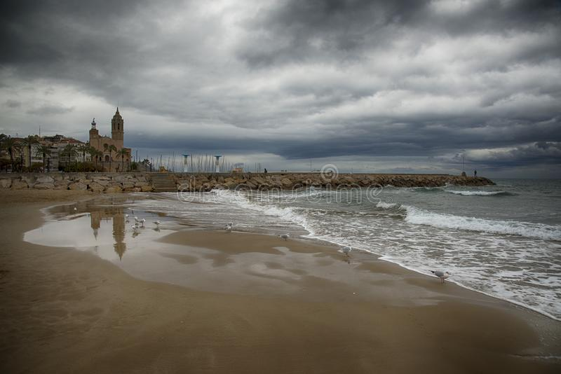 ?glise de St Bartholomew et de Santa Tecla, Sitges image stock