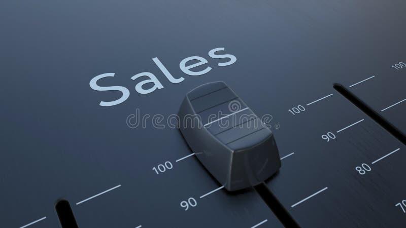 Glissement de l'affaiblisseur avec des ventes inscription, macro Rendu 3d conceptuel illustration libre de droits