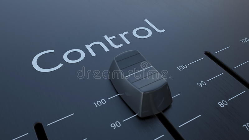 Glissement de l'affaiblisseur avec l'inscription de contrôle, macro Rendu 3d conceptuel illustration de vecteur