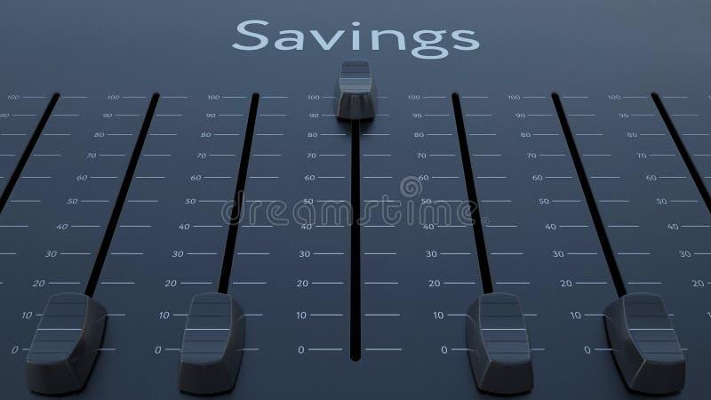 Glissement de l'affaiblisseur avec l'inscription de l'épargne Rendu 3d conceptuel illustration stock