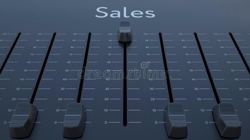 Glissement de l'affaiblisseur avec l'inscription de ventes Rendu 3d conceptuel illustration stock