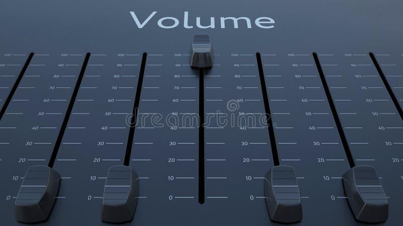 Glissement de l'affaiblisseur avec l'inscription de volume Rendu 3d conceptuel illustration de vecteur