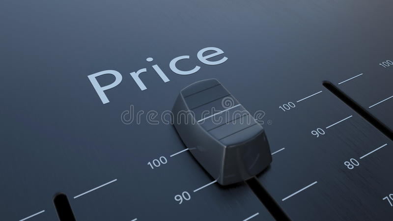 Glissement de l'affaiblisseur avec l'inscription des prix, macro Rendu 3d conceptuel illustration stock