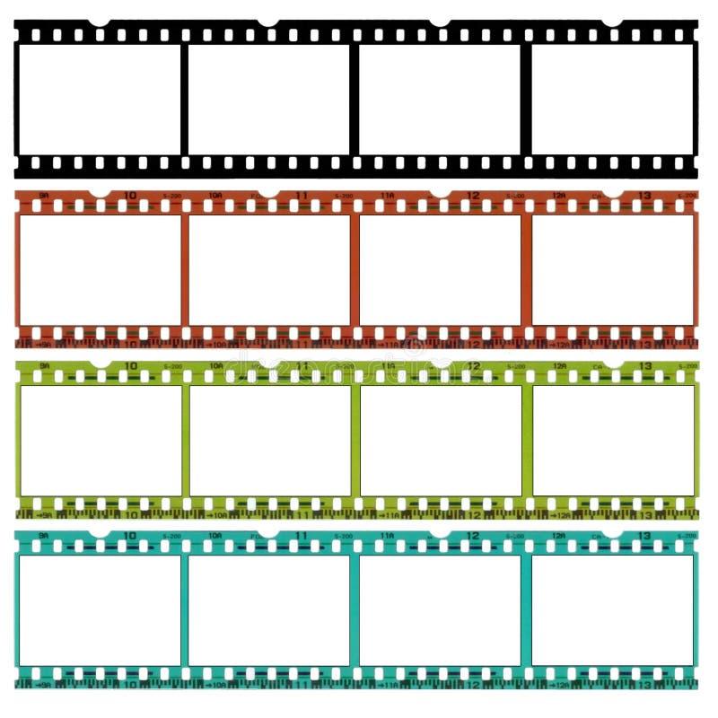Glissières de film de 35mm en différentes couleurs illustration libre de droits