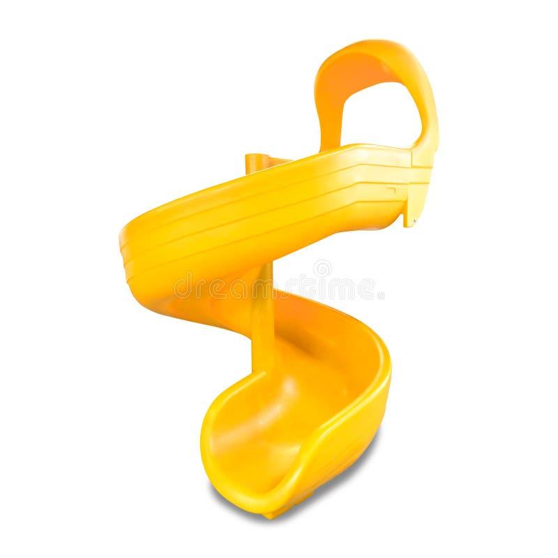 Glissi?re d'enfants d'isolement sur le fond blanc Conseil coulissant jaune pour des enfants Chemin de coupure image stock