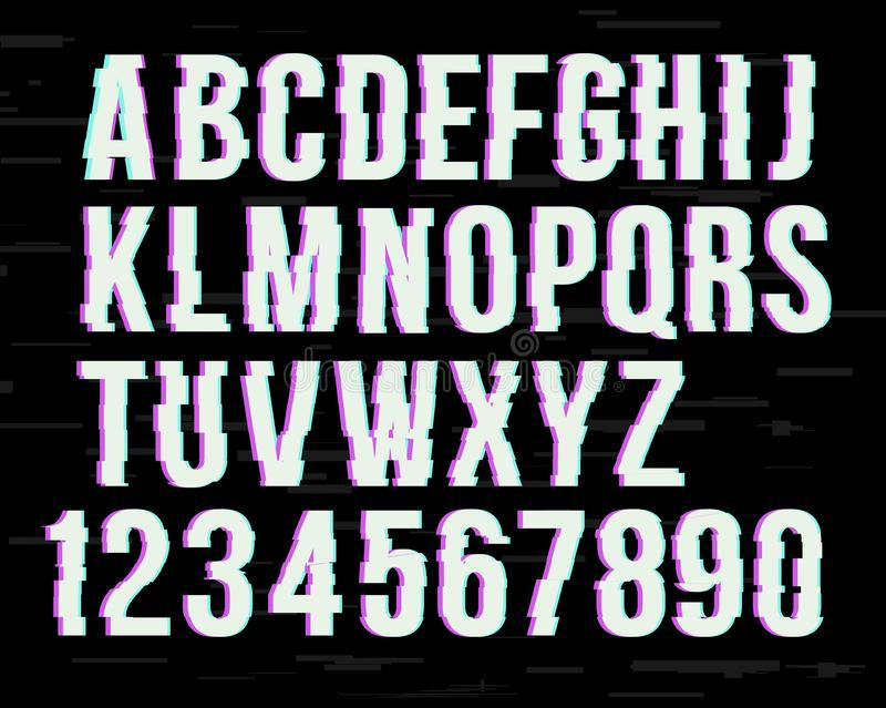 Glitch font on distorted effect .  Latin letters from A to Z and numbers from 0 to 9. Green and red channels. vector illustration
