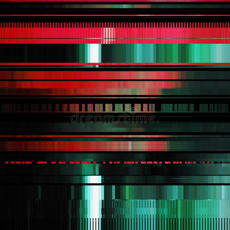Glitch Abstract Background. With distortion effect, bug, error, random horizontal red and green color lines for design concepts, posters, wallpapers royalty free illustration