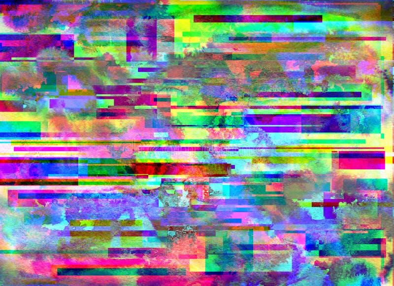 Glitch achtergrond De fout van het computerscherm Het digitale abstracte ontwerp van het pixellawaai Fotoglitch Het televisiesign stock illustratie