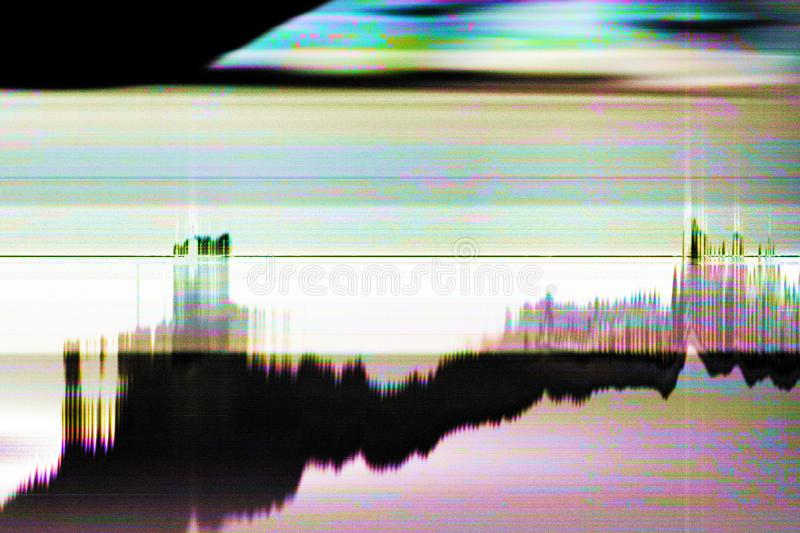 Glitch art video damage striped static noise. Glitch art. Video damage. Striped static noise pattern overlay stock photos