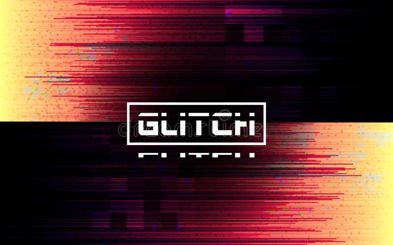 Glitch banner. Color distortion lines on dark background. Futuristic poster with glitched elements and noise. No signal royalty free illustration