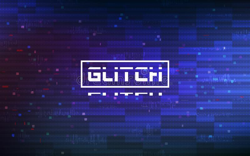 Glitch blue background. Abstract color pixels and shapes on gradient backdrop. Glitched video texture. Digital no signal stock images