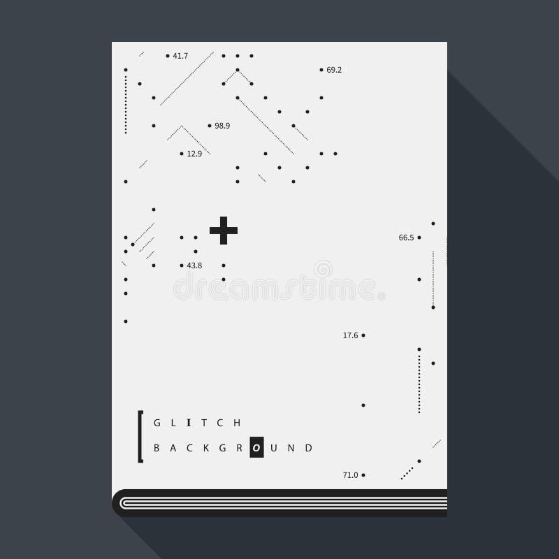Glitch boekdekking/affichemalplaatje met eenvoudige geometrisch ontwerpelementen vector illustratie