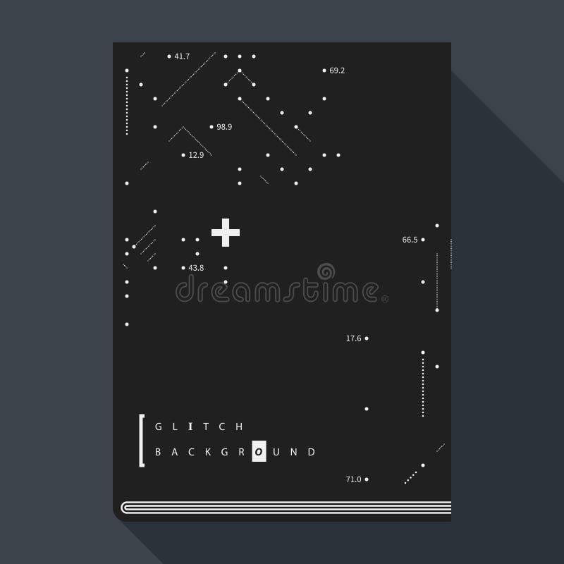 Glitch boekdekking/affichemalplaatje met eenvoudige geometrisch ontwerpelementen royalty-vrije illustratie