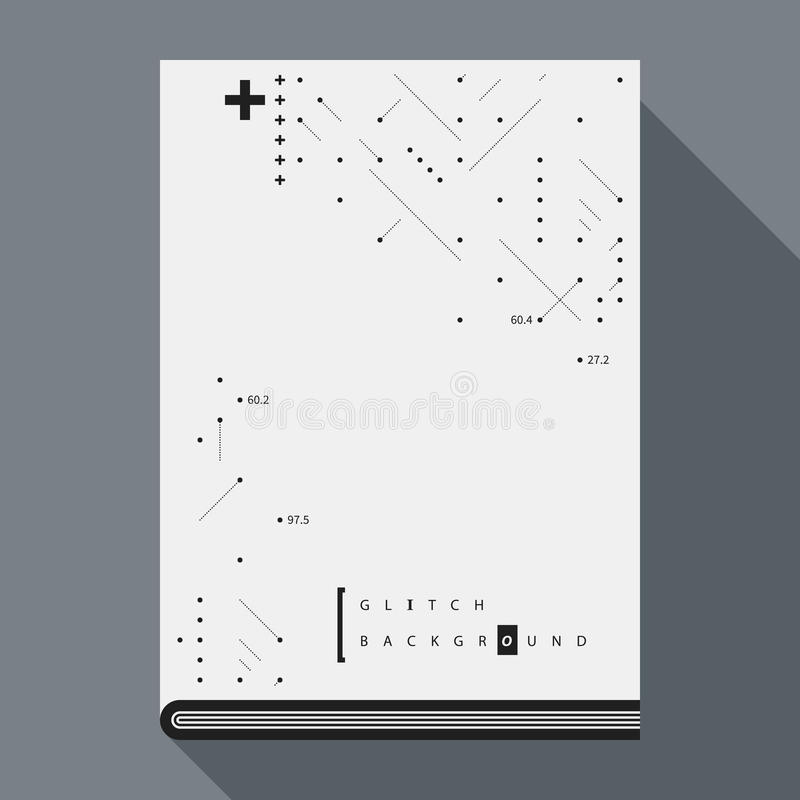 Simple Book Cover Template ~ Glitch book cover poster template with simple geometric