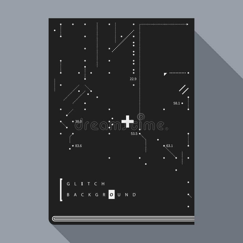 Glitch book cover/poster template with simple geometric design elements. Glitch book cover/poster design template with simple geometric design elements stock illustration