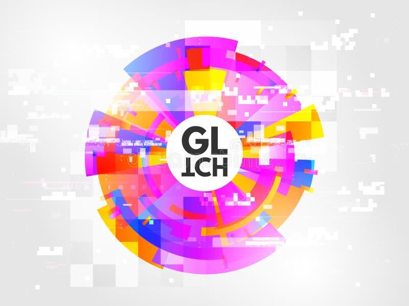 Glitch cirkelsamenvatting Het ontwerpelement met glitched lijnenlawaai Moderne ronde glitch met kleurenvervormingen trendy royalty-vrije illustratie