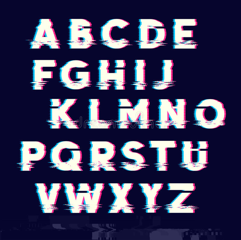 Glitch displacement type letters royalty free illustration